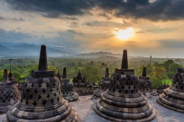 Borobudur temple at sunset