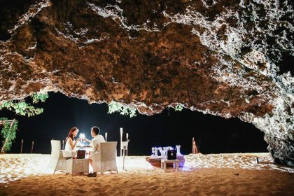 romantic cave dinner - highlight of bali honeymoon packages